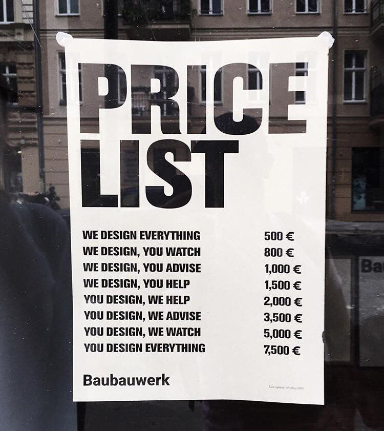 Design price list by Baubauwerk
