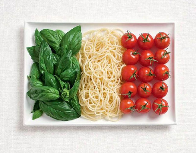 Italy flag from food