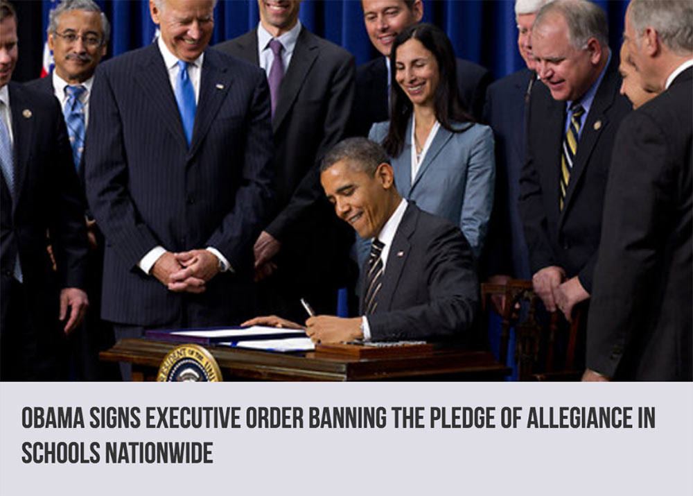 Obama bans pledge of allegiance in schools, fake news