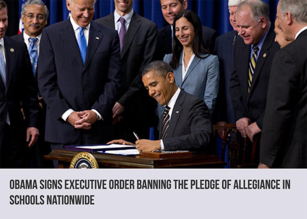 Obama bans pledge of allegiance in schools, fake news