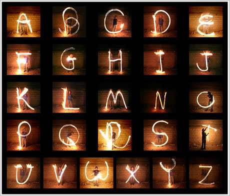 Stylish Alphabets Writing Alphabet Light Writing