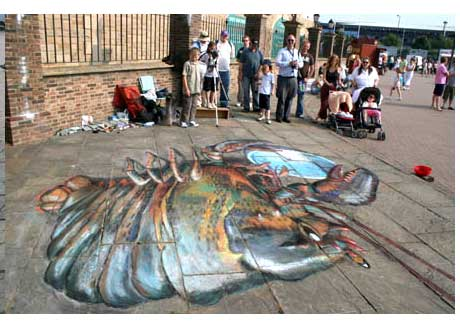 Pavement chalk drawing