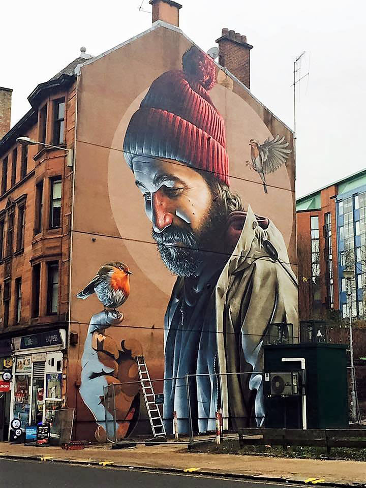 Glasgow high street mural by smug for Art of mural painting