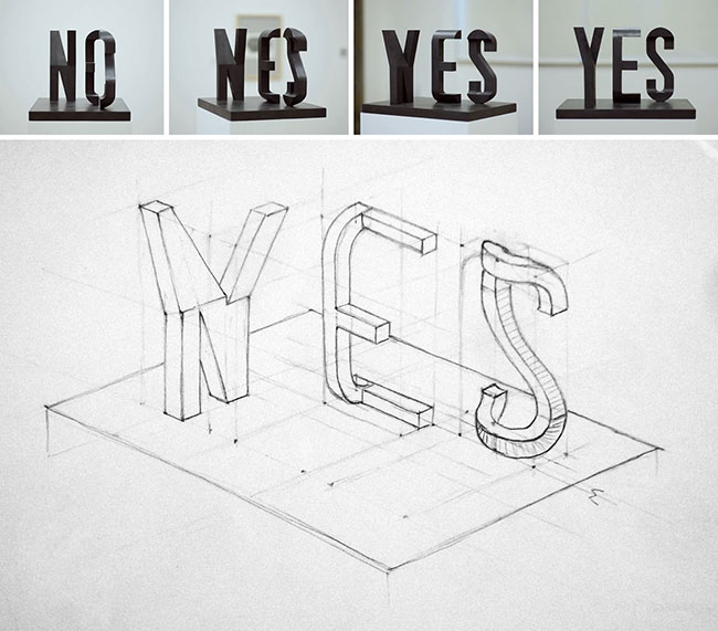 Yes No sculpture