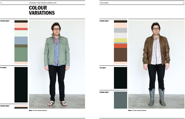 Christopher Doyle styleguide colour variations