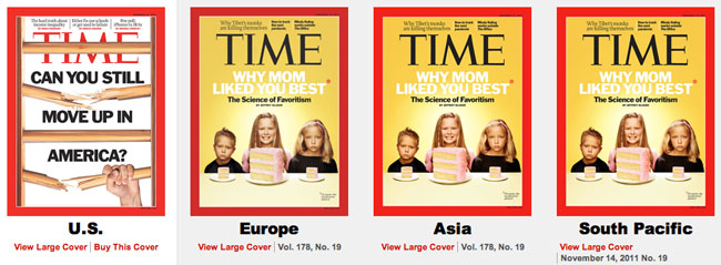 TIME magazine covers US vs rest of the world