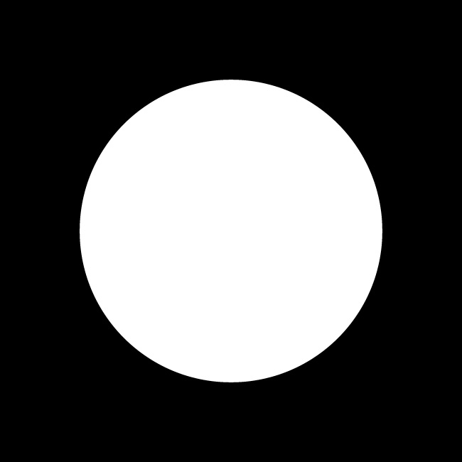 white circle black background
