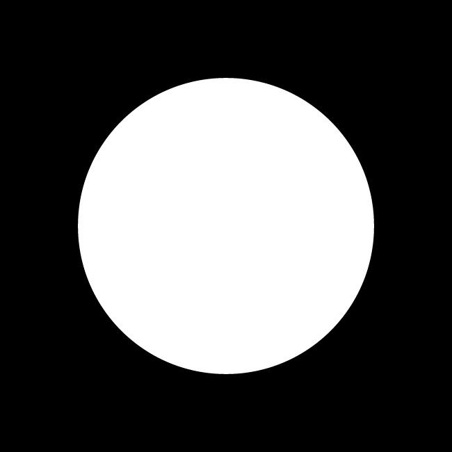 white circle black background