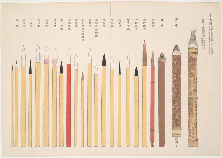 Writing brushes illustration