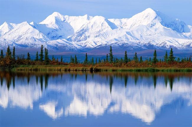 Himalayas reflected in lake