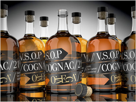 V.S.O.P. Cognac bottle label design