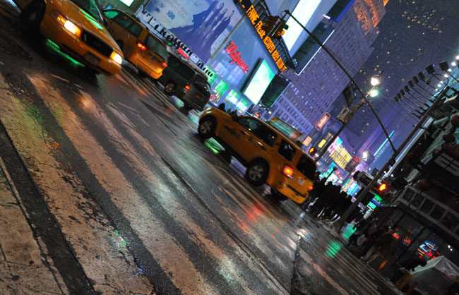 Broadway and Times Square at night