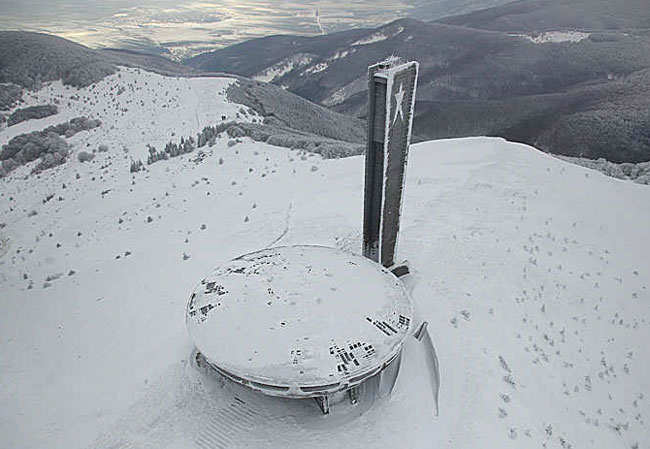 Buzludzha monument from the air