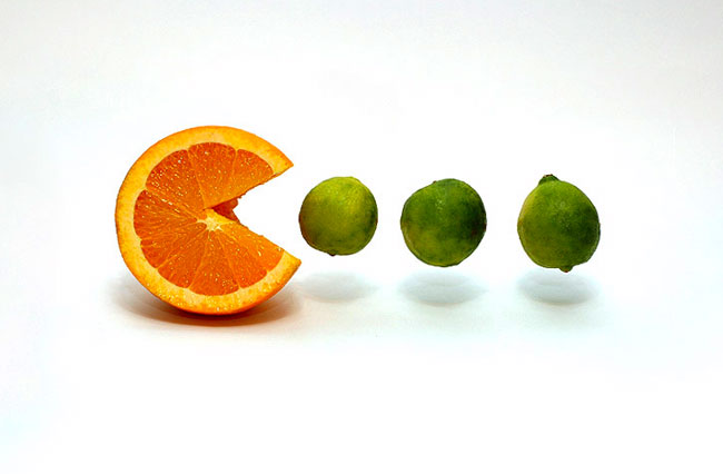 orange eating limes