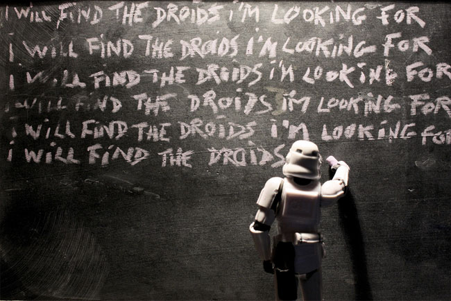 Stormtrooper writing lines
