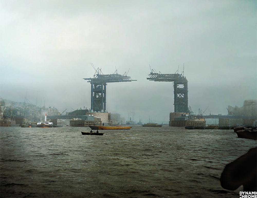 Tower Bridge construction, 1889