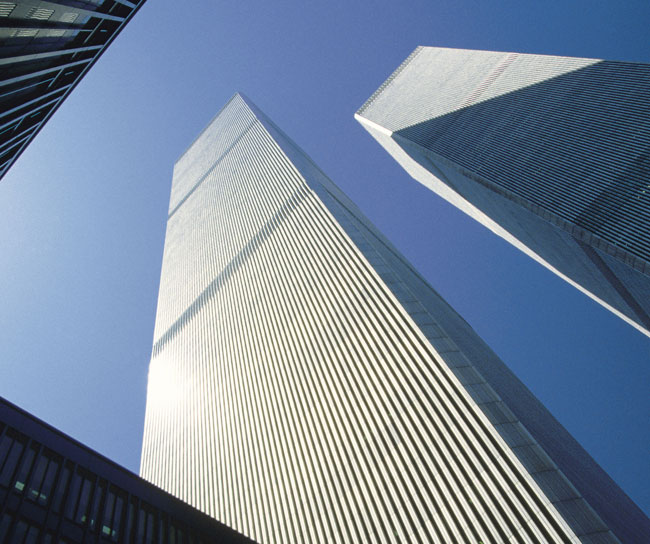 twin towers from below