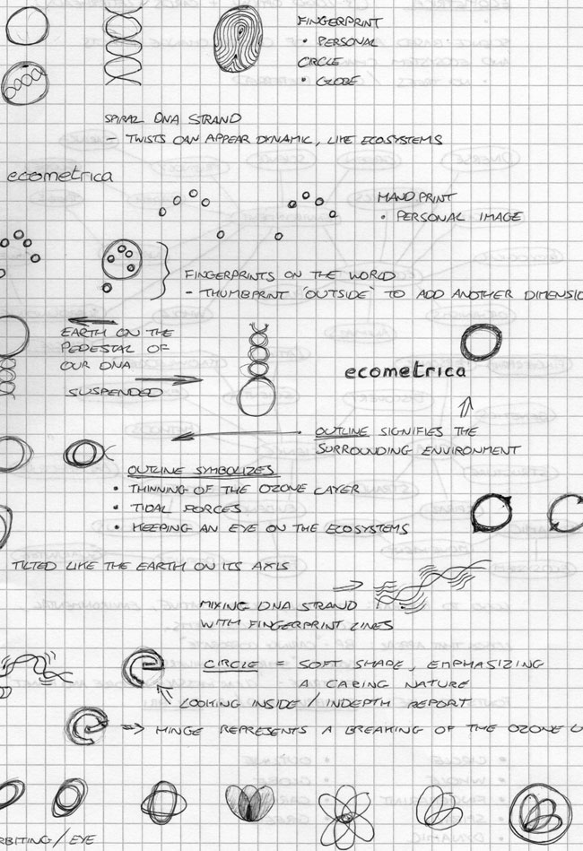 Ecometrica logo sketches