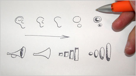 Fidelity Hearing Center logo design sketches