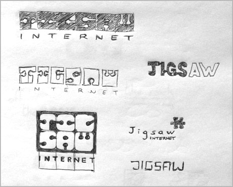 Jigsaw logo design sketches