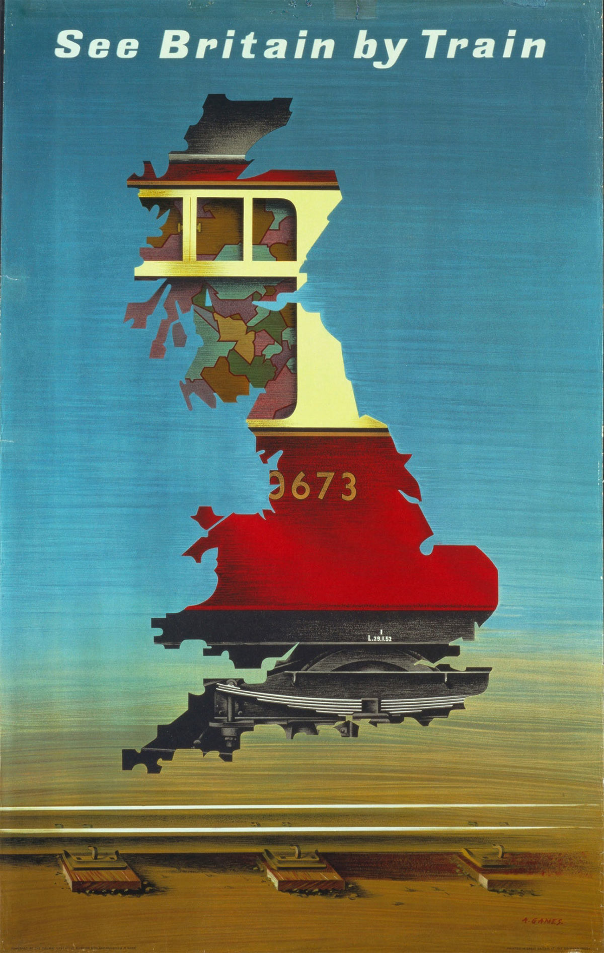 Abram Games See Britain by Train poster