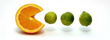 orange pacman eating limes