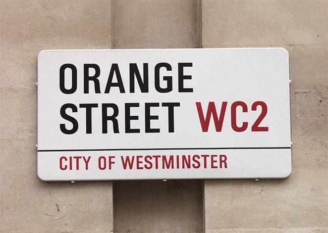 Orange Street sign, London