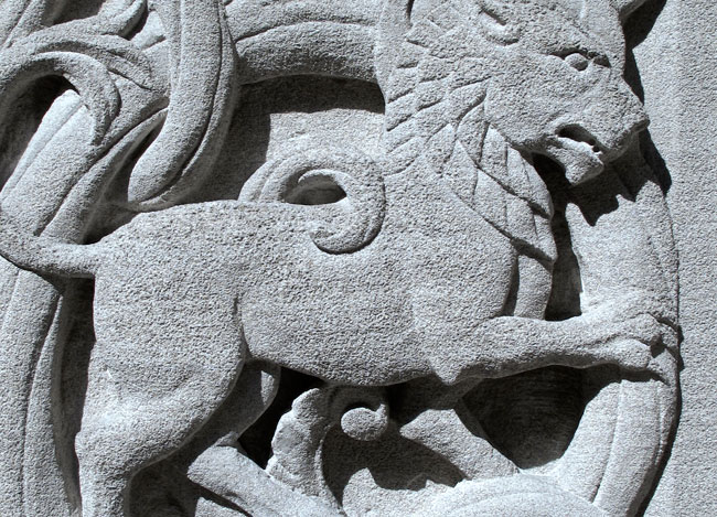 Lion stone carving