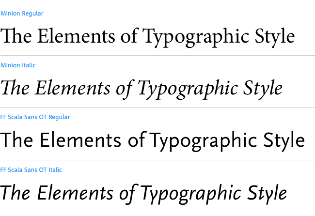 Typeface combinations used in design books