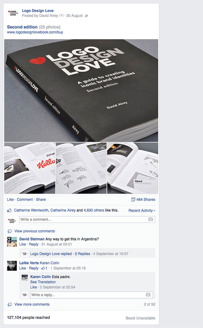 Facebook reach for Logo Design Love