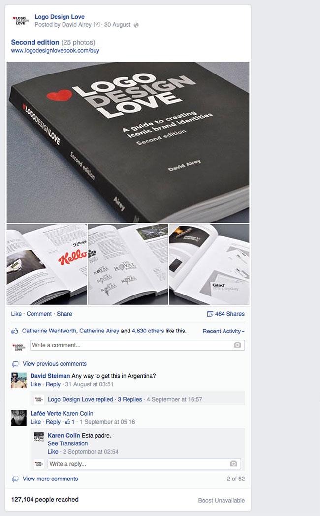Facebook reach for Logo Design Love