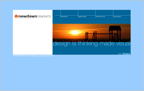 New Dawn Graphics website