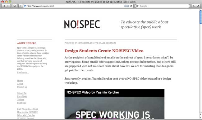 NO!SPEC website after