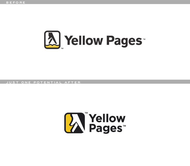 Yellow Pages logo before and after