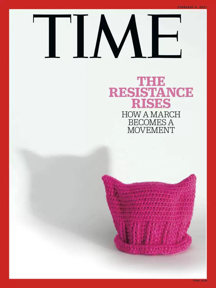 Time Magazine pink hat cover
