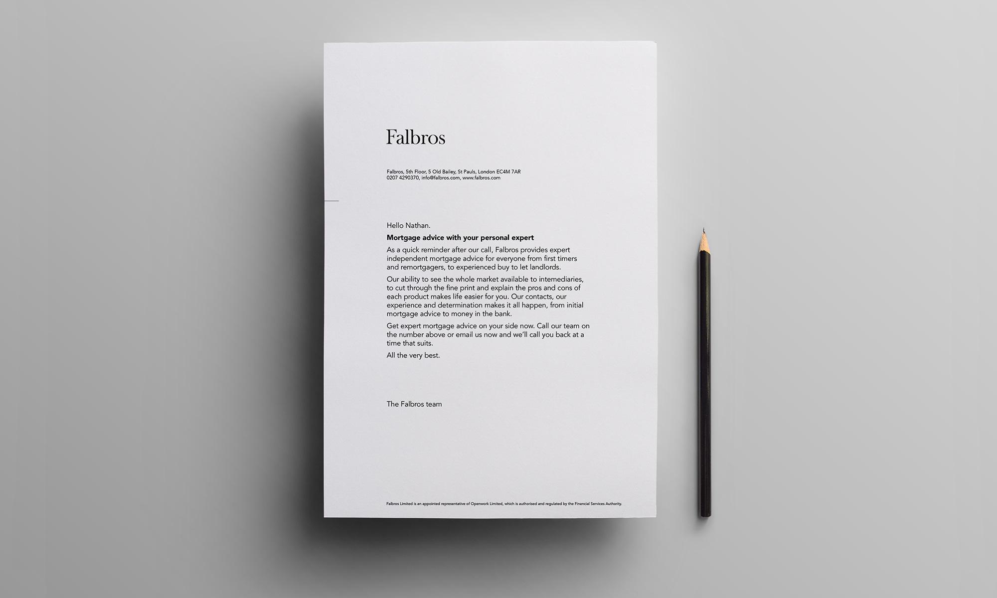 Falbros letterhead