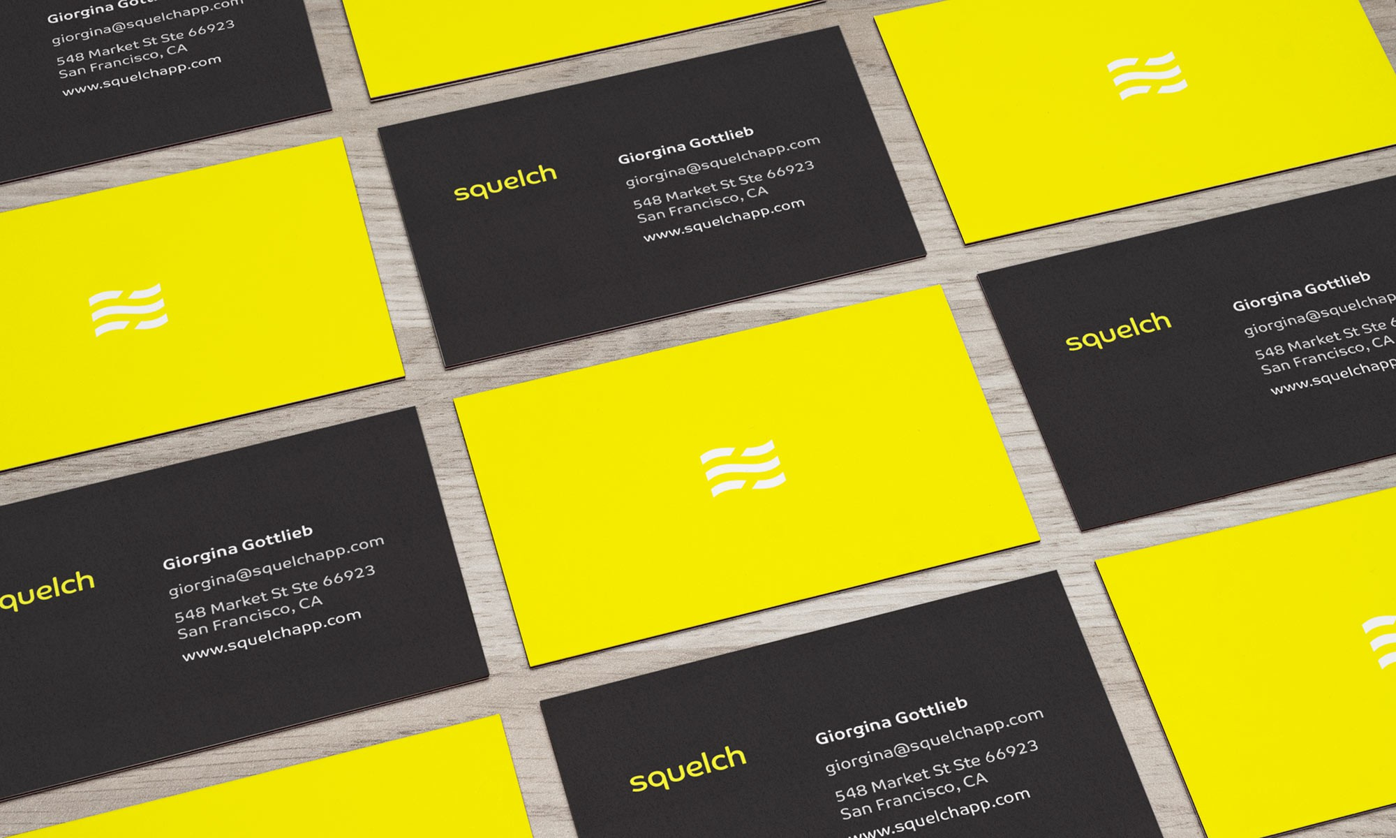 Squelch business cards