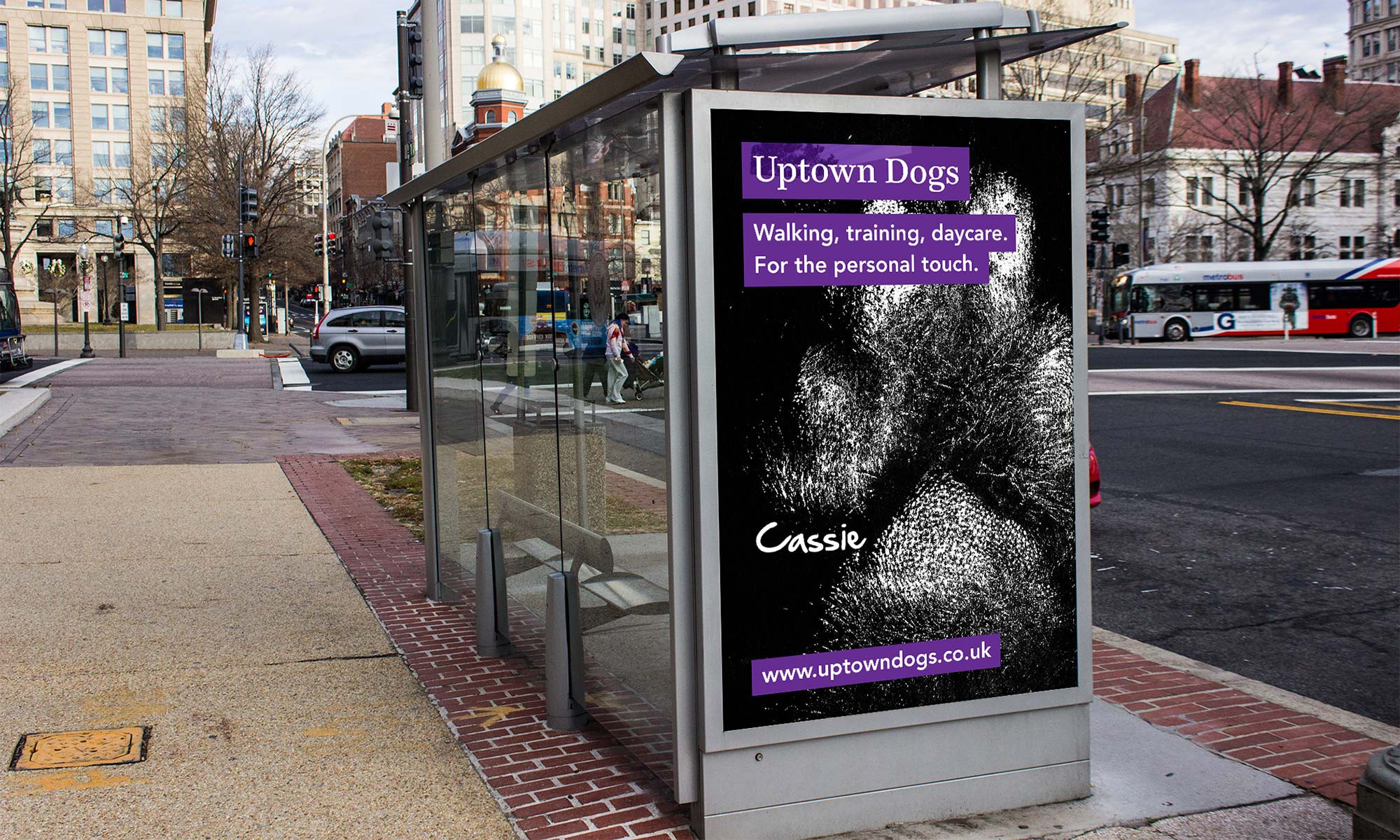 Uptown Dogs bus stop ad