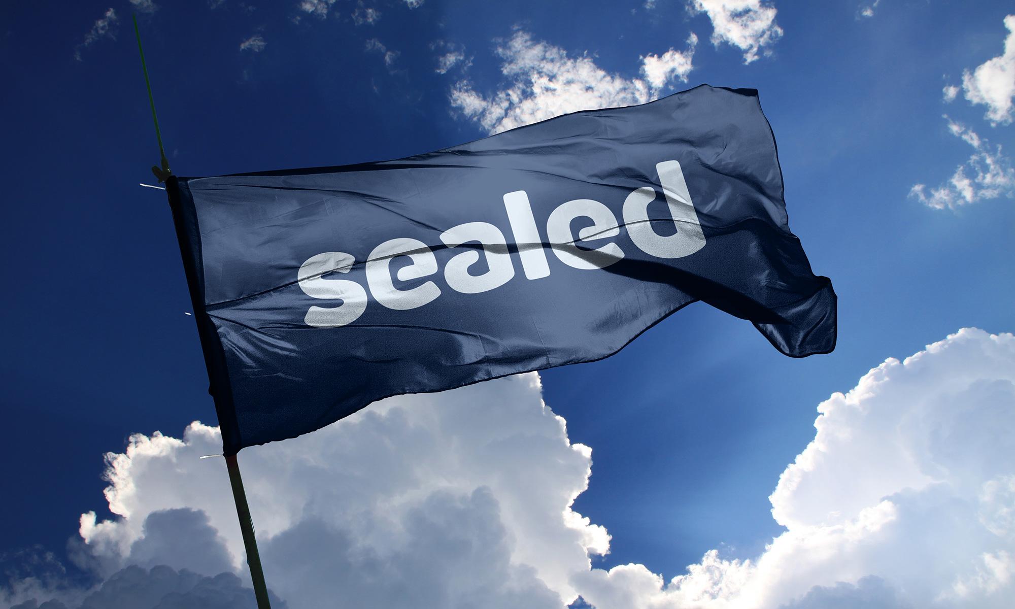 Sealed logo flag